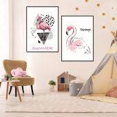 DecoKing - Zestaw plakatów ściennych - Flamingo