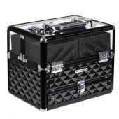 Profesjonalny kuferek na kosmetyki Rozkładany Glamour Czarny COFFER