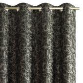 Zasłony zaciemniające na przelotkach Liście Miłorzębu OXFORD 140x250 cm Czarne JAPANDI