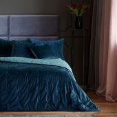 DecoKing – Narzuta na łóżko Premium Pikowana Dwustronna Ciemnoniebieska Welwet DAISY