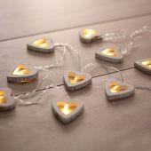 DecoKing - Dekoracyjne lampki - Drewniane serca