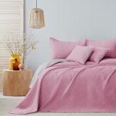 Narzuta na łóżko Pikowana Dwustronna Różowo Srebrna SOFTA