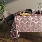 Obrus na stół z błyszczącym wzorem Motyw kwiatowy Brudny Róż PLANTS