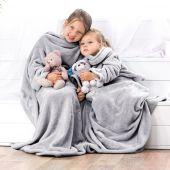 DecoKing – Koc z rękawami 90x105 cm Szary LAZY KIDS