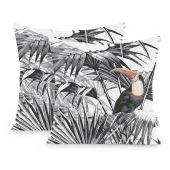 Poszewki na poduszkę Oxford 45x45 cm Orientalne Wzorzyste Animal Print 2szt. Czarno Białe PARADISE