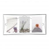 Umbra - Ramka industrialna na 3 zdjęcia Srebrna PRISMA
