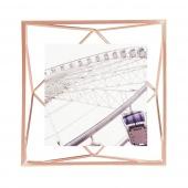 Umbra - Industrialna ramka na zdjęcia 10x10 cm stojąca / wisząca Miedziana PRISMA