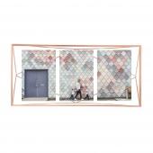 Umbra - Ramka industrialna na 3 zdjęcia Różowe Złoto PRISMA