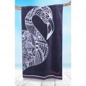 DecoKing - Ręcznik Plażowy Bawełniany Granatowy NAVY  FLAMINGO Z FLAMINGIEM