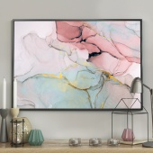 DecoKing - Plakat ścienny – Marble – Pink + Gold