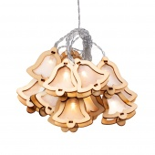 Lampki świąteczne witrażyk LED Drewniane Dzwonki Ozdoba na baterie