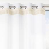 Biała firana na przelotkach Ozdobne frędzle BRID