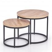 Zestaw industrialnych stolików do salonu Okrągły Dąb ESBEN