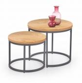 Zestaw industrialnych stolików do salonu Okrągły Dąb złoty ESBEN