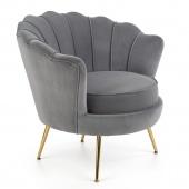 Fotel tapicerowany do salonu Welurowy Muszelka Złote Nogi Szary SCALLOP