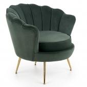 Fotel tapicerowany do salonu Welurowy Muszelka Złote Nogi Ciemnozielony SCALLOP