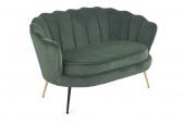 Sofa tapicerowana do salonu Welurowa Muszelka Złote Nogi Ciemnozielona SCALLOP