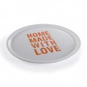 Talerz na pizzę HOME MADE WITH LOVE ¤ 33cm - Pomarańczowy napis