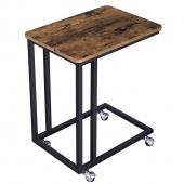 AmeliaHome - industrialny stolik Kawowy Boczny Wysoki Brązowo Czarny