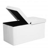 AmeliaHome - Taboret składany z miejscem do przechowywania Biały LUKKA