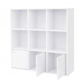 AmeliaHome - Klasyczna Półka na książki Stojąca z trzema zamykanymi szufladami Biała CLASSIC