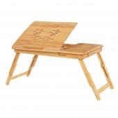 AmeliaHome - Wielofunkcyjny Stolik Bambusowy Śniadaniowy pod laptopa RUSTIC