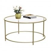 Stolik kawowy szklany blat glamour okrągły złoty Ø 90 cm GLAM