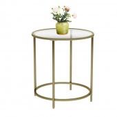Stolik kawowy Stoliczek szklany blat Glamour Okrągły Złoty Ø 50 cm GLAM