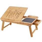 AmeliaHome - Wielofunkcyjny stolik pod laptopa Śniadaniowy Bambusowy RUSTIC
