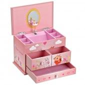 Kuferek na biżuterię z pozytywką Różowa szkatułka z baletnicą BALLERINA