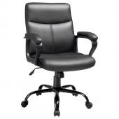 Krzesło biurowe do gabinetu biura z eko skóry Obrotowe Czarne VUUS