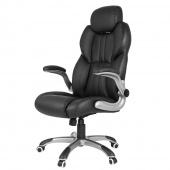 Krzesło biurowe Obrotowe Eko skóra Czarne BOSS