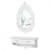 AmeliaHome - Toaletka Kosmetyczna z Lustrem Wisząca BIAŁA
