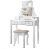 Toaletka Nowoczesna Glamour z lustrem Biała VIZAGO