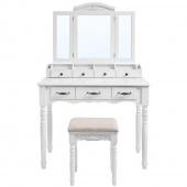 Toaletka Biała Glamour z lustrem i szufladami HORTENSE