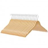 AmeliaHome - Zestaw wieszaków na ubrania drewnianych 20 sztuk NATURA