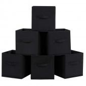AmeliaHome - Zestaw materiałowych pudełek do przechowywania Czarny 6 BOX
