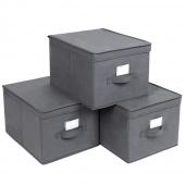 AmeliaHome - Zestaw materiałowych pudełek do przechowywania Szary 3 BOX