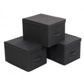 AmeliaHome - Zestaw materiałowych pudełek do przechowywania Czarny 3 BOX