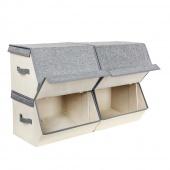 AmeliaHome - Zestaw materiałowych pudełek do przechowywania Szaro Beżowy 4 LUX
