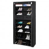 AmeliaHome - Szafka na buty z szufladami Stojąca Czarna CABINET