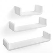 AmeliaHome - Półki ścienne Wiszące Białe MODERN