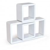 AmeliaHome - Kompaktowe Półki ścienne Wiszące Białe CUBES