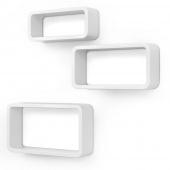 AmeliaHome - Kompaktowe Półki ścienne Wiszące Białe RECTANGLE