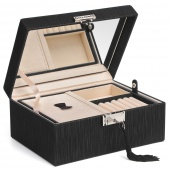 AmeliaHome - Szkatułka na biżuterię z lustrem Czarna GLAMOUR