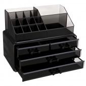 AmeliaHome - Organizer na kosmetyki z szufladami Czarny ALEXIS