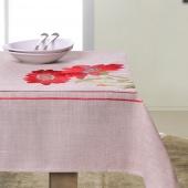 DecoKing - Obrus w czerwone kwiaty - 40x140 cm