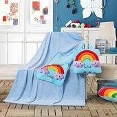Koc dziecięcy – Cuties – Tęcza – Niebieski - 110x160 cm