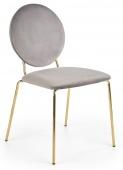Krzesło welurowe glamour do jadalni szare ze złotymi nóżkami FRANCES