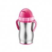 Termos dziecięcy ze słomką BAMBINI - 300 ml - Stalowy - Różowy